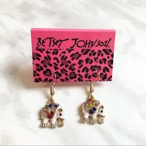 🎉 NWT Betsey Johnson Crystal Elephant Earrings